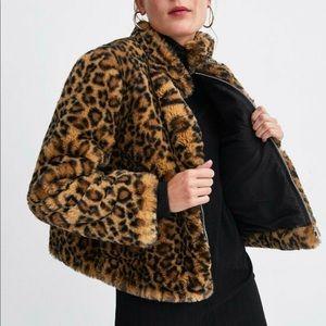 ZARA Trafaluc Faux Fur Leopard Coat
